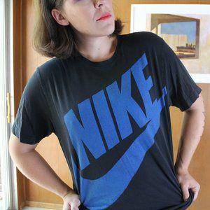 Black & Blue NIKE Logo Regular Fit Shirt